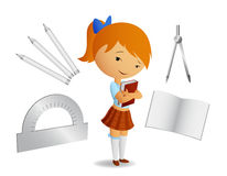 Cute shoolgirl with book Royalty Free Stock Photos