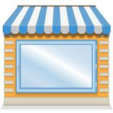 Cute shop icon with blue awnings. Stock Photo