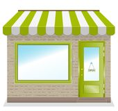 Cute shop icon with green awnings. Cute shop icon with green awnings brick wall. Illustration Royalty Free Stock Images