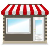 Cute shop icon with red awnings. Illustration Stock Photography