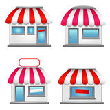 Cute shop icons with red awnings. Shop icons with red awnings isolated on white Royalty Free Stock Photo