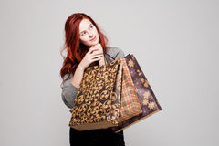 Cute shopper. Royalty Free Stock Photo
