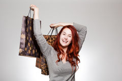 Cute shopper. Royalty Free Stock Image