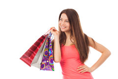 Cute shopper smiling Royalty Free Stock Photos