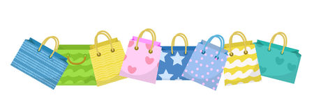 Cute shopping bag banner. Colorful shopping bags with different design board. Paper bags with space for text. Gift Royalty Free Stock Images
