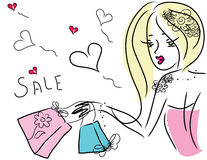 Cute shopping girl. Image of a cute doodle shopping girl Royalty Free Stock Photo