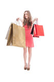 Cute shopping girl feeling happy Stock Images