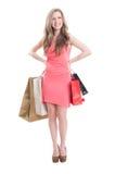 Cute shopping girl smiling Stock Image