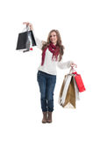 Cute shopping lady Royalty Free Stock Photo