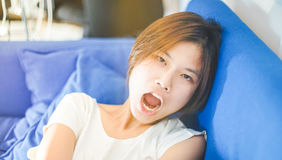 Cute Short hair Asian teenagers Bullyingat you. Royalty Free Stock Photography