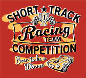 Cute Short Track racing team. Vector artwork for children wear Royalty Free Stock Photo