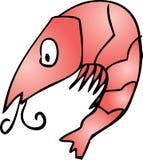 Cute shrimp. Shrimp Cute friendly cartoon marine creature hand-drawn illustration Royalty Free Stock Images