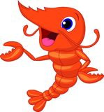 Cute shrimp cartoon presenting Royalty Free Stock Photography