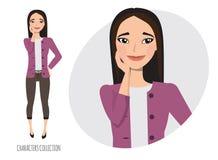 Cute shy asian girl. vector vector illustration