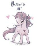 Cute shy pink unicorn stock illustration