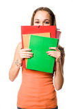 Cute shy young student girl. Royalty Free Stock Photos