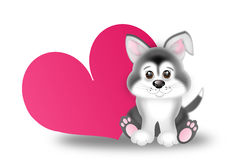Cute siberian husky puppy with big pink heart stock illustration