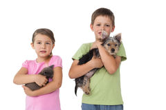 Cute siblings holding their pets and smiling at camera Stock Image