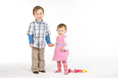 Cute Siblings laughing Stock Images