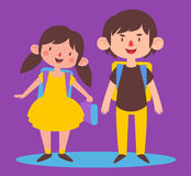 c015d1e4cf3 Happy Boy And Girl Ready To Go Back To School Stock Vector ...