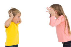 Cute siblings teasing each other Royalty Free Stock Photos