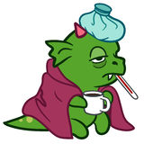 Cute sick monster dragon with ice pack Stock Images