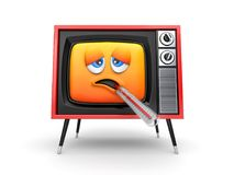Cute sick TV emoticon with thermometer Stock Photo