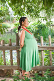 Cute side profile of a pregnant woman Stock Image