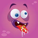 Cute Silly Monster. Vector illustration of cute silly monster avatar in purple color Stock Photo