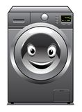 Cute silver washing machine with a happy face Royalty Free Stock Image