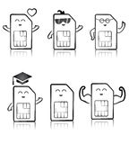 A cute sim cards black and white set Royalty Free Stock Photo