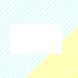 Cute simple card. Blue stripes and yellow triangle. Small heart. Place for your text. Good for greetings, invitation, birthday and baby shower Stock Photo