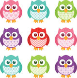 Cute Simple Cartoon Patterned Owls. Cute little patterned owls with modern patterns on their bellies. All of the colors are easily editable, and the objects are Stock Image