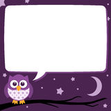 Cute Simple Cartoon Patterned Owls, Night Time Speech Bubble. A cute little ownl sitting on a tree branch with a speech bubble to contain some text at night time Stock Photos