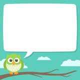 Cute Simple Cartoon Patterned Owls, Speech Bubble. A cute little owl sitting on a tree branch with a speech bubble to contain some text. The file is layered and Stock Image