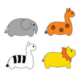 Cute simple cartoon Safari animals Royalty Free Stock Images