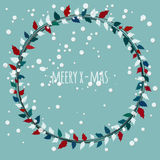 Cute and simple Christmas wreath. Vector greeting card for Christmas with floral wreath Royalty Free Stock Images