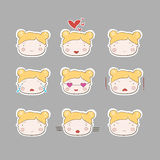 Cute Simple Drawing Blonde Baby Girl Emotions Set Stock Photos