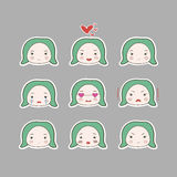 Cute Simple Drawing Green Turquoise Hair Baby Girl Emotions Set Stock Image