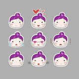 Cute Simple Drawing Plum Hair Baby Girl Emotions Set Stock Image
