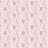 Cute simple floral pattern with roses pale pink. Cute simple floral pattern pale pastel color bacground for female and childish design Royalty Free Stock Photo