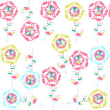 Cute simple  floral seamless pattern and seamless pattern in swatch menu,  image Stock Images
