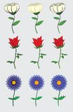 Cute and simple flowers design. Three cute and simple flowers  with different outlines Royalty Free Stock Image