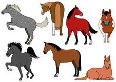 Cute and simple horse doodle drawing set. Cute horse doodle drawing set, making various poses stock illustration