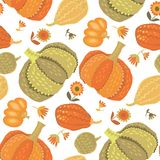 Cute simple naive pumpkin seamless pattern. Stock Images