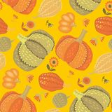 Cute simple naive pumpkin seamless pattern. Stock Photography
