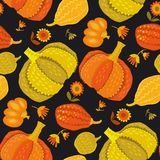 Cute simple naive pumpkin seamless pattern. Vector illustration for surface design. fall thanksgiving celebration image Stock Photo
