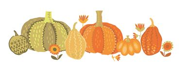 Cute simple naive pumpkin set. Stock Image