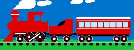 Cute simple red steam train on rail tracks Stock Photos