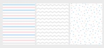 Set of 3 Abstract Geometric Vector Pattern. Pink, Blue an Gray Stripes, Chevron and Dots on a White Background. vector illustration